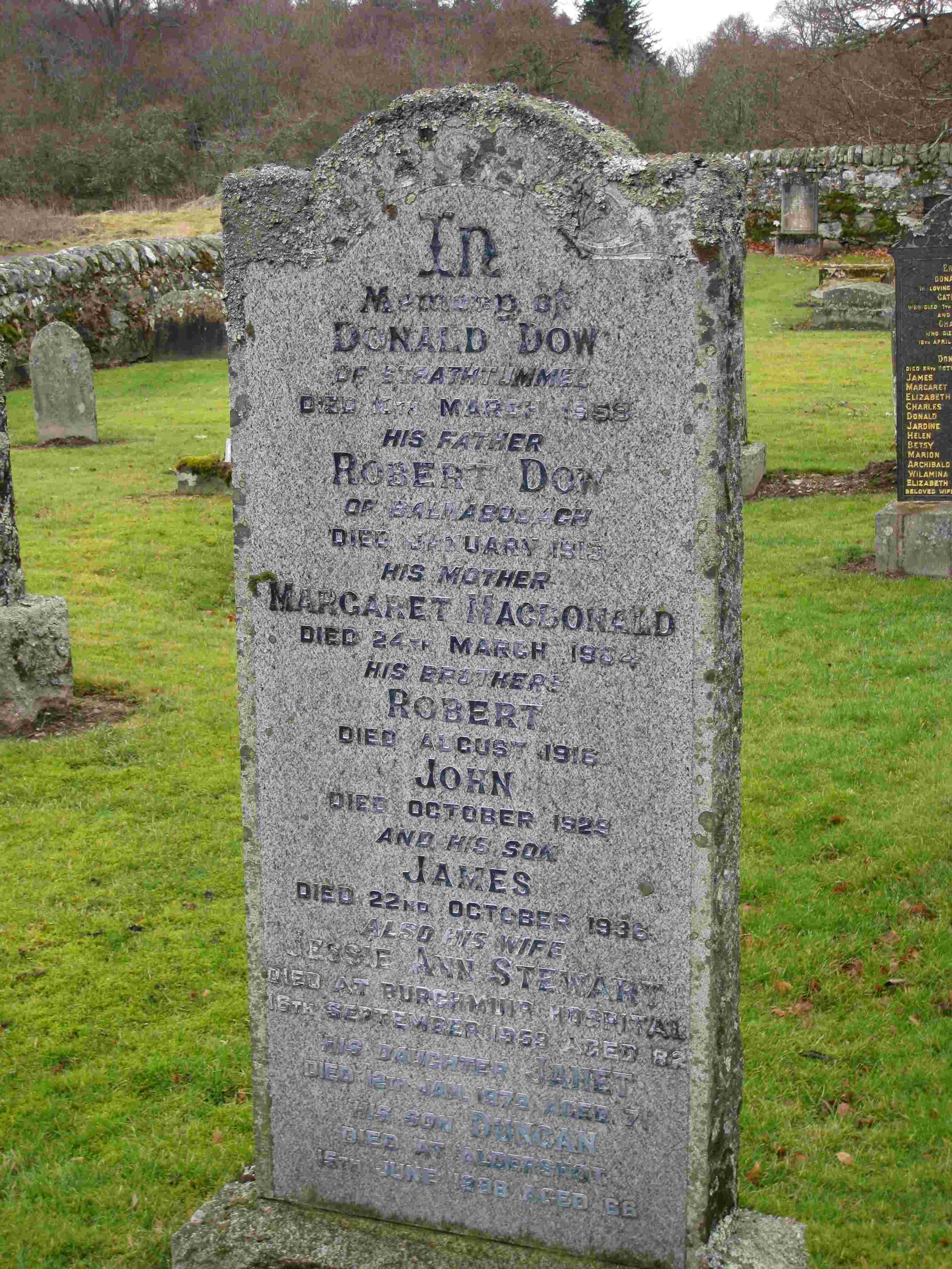 Memorial to Donald Dow of Tomintianda